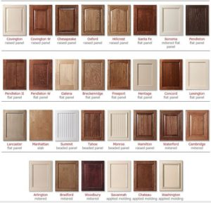 Cabinet Styles and Colors Chart