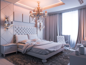 3D render of a bedroom without color and textures
